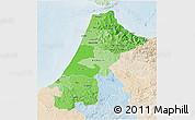 Political Shades 3D Map of Nord Ouest, lighten