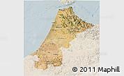 Satellite 3D Map of Nord Ouest, lighten