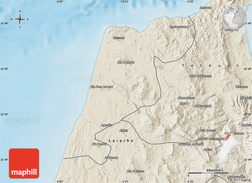 Shaded Relief Map of Tanger