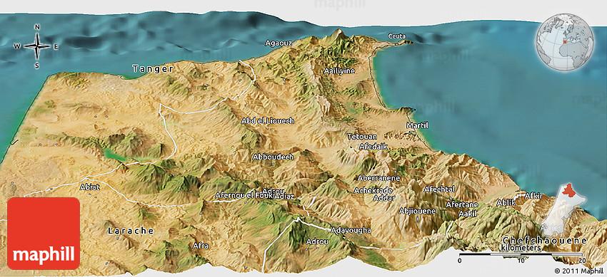 Satellite Panoramic Map of Tetouan