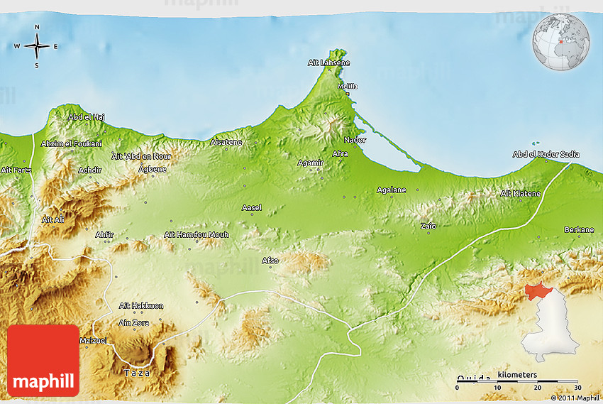 Physical 3D Map of Nador