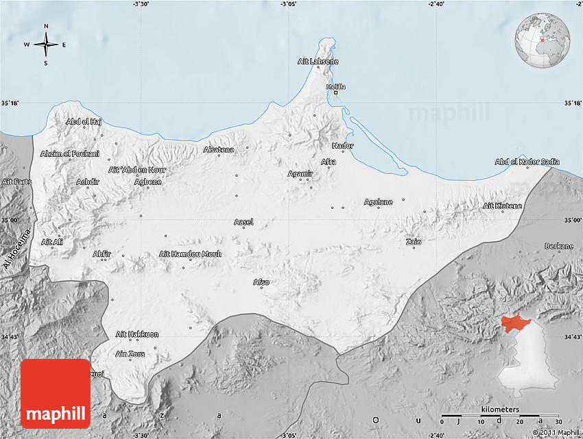 Gray Map of Nador