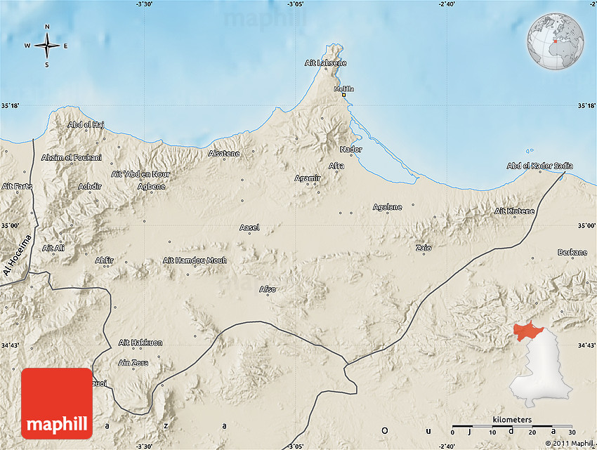 Shaded Relief Map of Nador