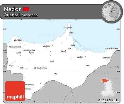 Free Gray Simple Map of Nador