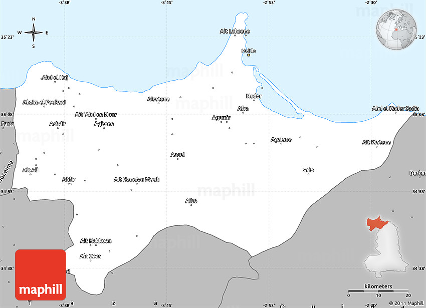 Gray Simple Map of Nador