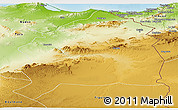 Physical Panoramic Map of Oujda