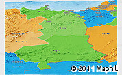 Political Shades Panoramic Map of Oriental
