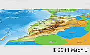 Physical Panoramic Map of Morocco, political outside, shaded relief sea