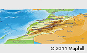 Physical Panoramic Map of Morocco, political shades outside, shaded relief sea