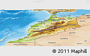 Physical Panoramic Map of Morocco, satellite outside, shaded relief sea