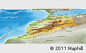 Physical Panoramic Map of Morocco, semi-desaturated, land only