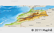 Physical Panoramic Map of Morocco, shaded relief outside