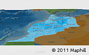 Political Shades Panoramic Map of Morocco, darken