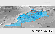 Political Shades Panoramic Map of Morocco, desaturated
