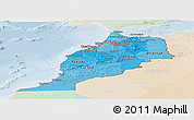 Political Shades Panoramic Map of Morocco, lighten
