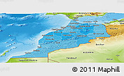 Political Shades Panoramic Map of Morocco, physical outside