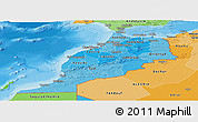 Political Shades Panoramic Map of Morocco