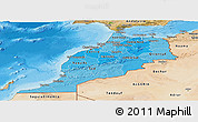 Political Shades Panoramic Map of Morocco, satellite outside, bathymetry sea