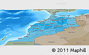 Political Shades Panoramic Map of Morocco, semi-desaturated, land only