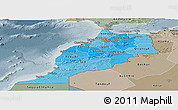 Political Shades Panoramic Map of Morocco, semi-desaturated