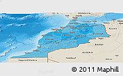 Political Shades Panoramic Map of Morocco, shaded relief outside, bathymetry sea