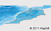 Political Shades Panoramic Map of Morocco, single color outside