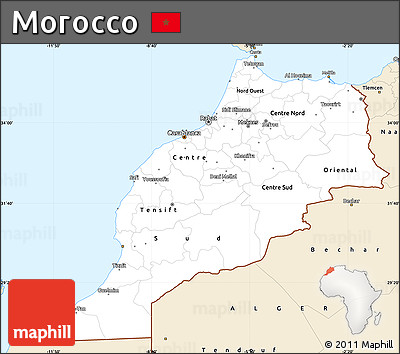 Classic Style Simple Map of Morocco