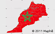 Flag Simple Map of Morocco, flag centered