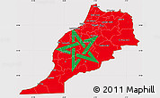 Flag Simple Map of Morocco, flag aligned to the middle