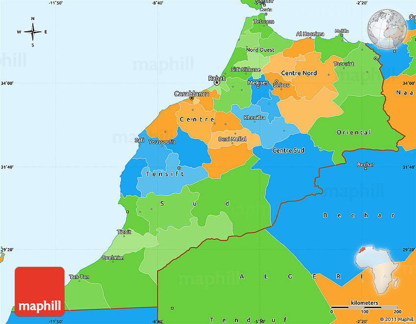 Political Simple Map of Morocco