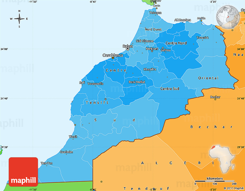 Political Shades Simple Map of Morocco