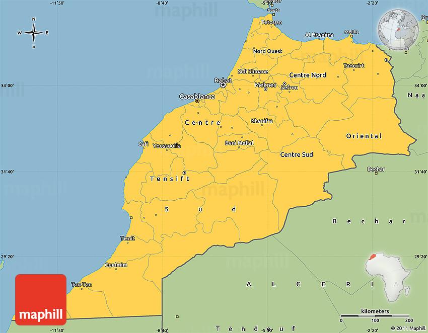 Savanna Style Simple Map of Morocco