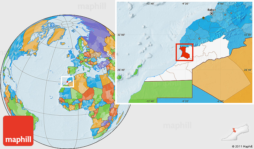 Political Location Map of Agadir highlighted parent region