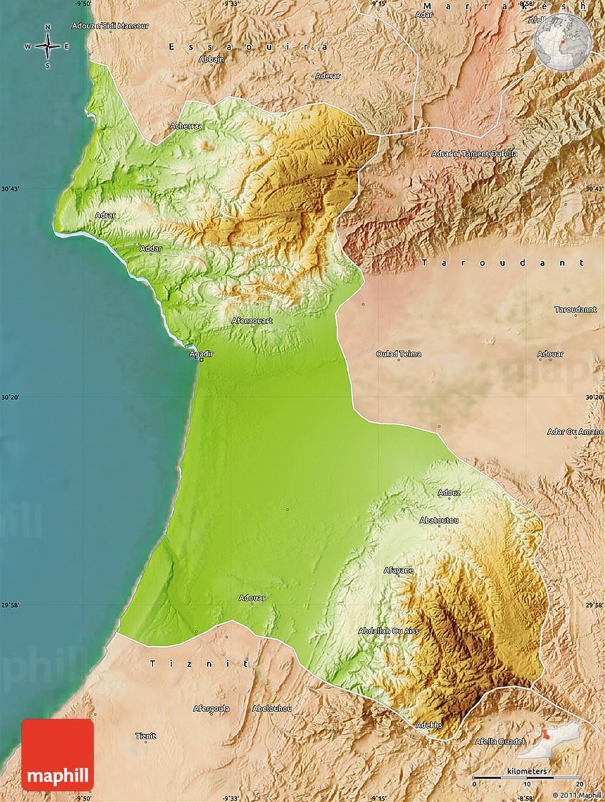 Physical Map of Agadir satellite outside