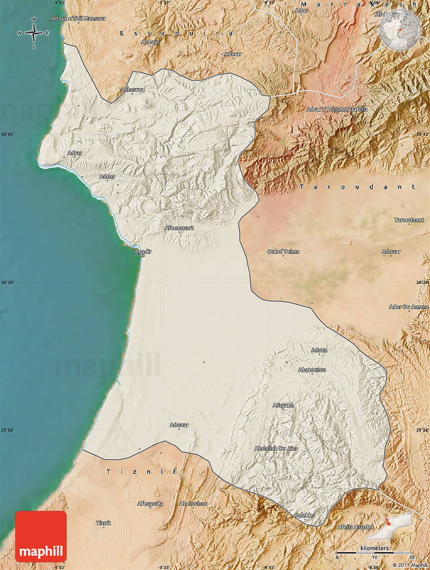Shaded Relief Map of Agadir satellite outside
