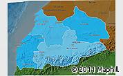 Political Shades 3D Map of Tensift, darken