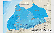 Political Shades 3D Map of Tensift, shaded relief outside