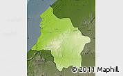 Physical Map of Safi, darken