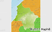 Physical Map of Safi, political outside