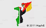 Flag 3D Map of Mozambique, flag aligned to the middle