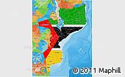 Flag 3D Map of Mozambique, political outside