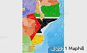Flag 3D Map of Mozambique, political shades outside