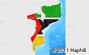 Flag 3D Map of Mozambique, single color outside, bathymetry sea
