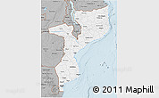 Gray 3D Map of Mozambique