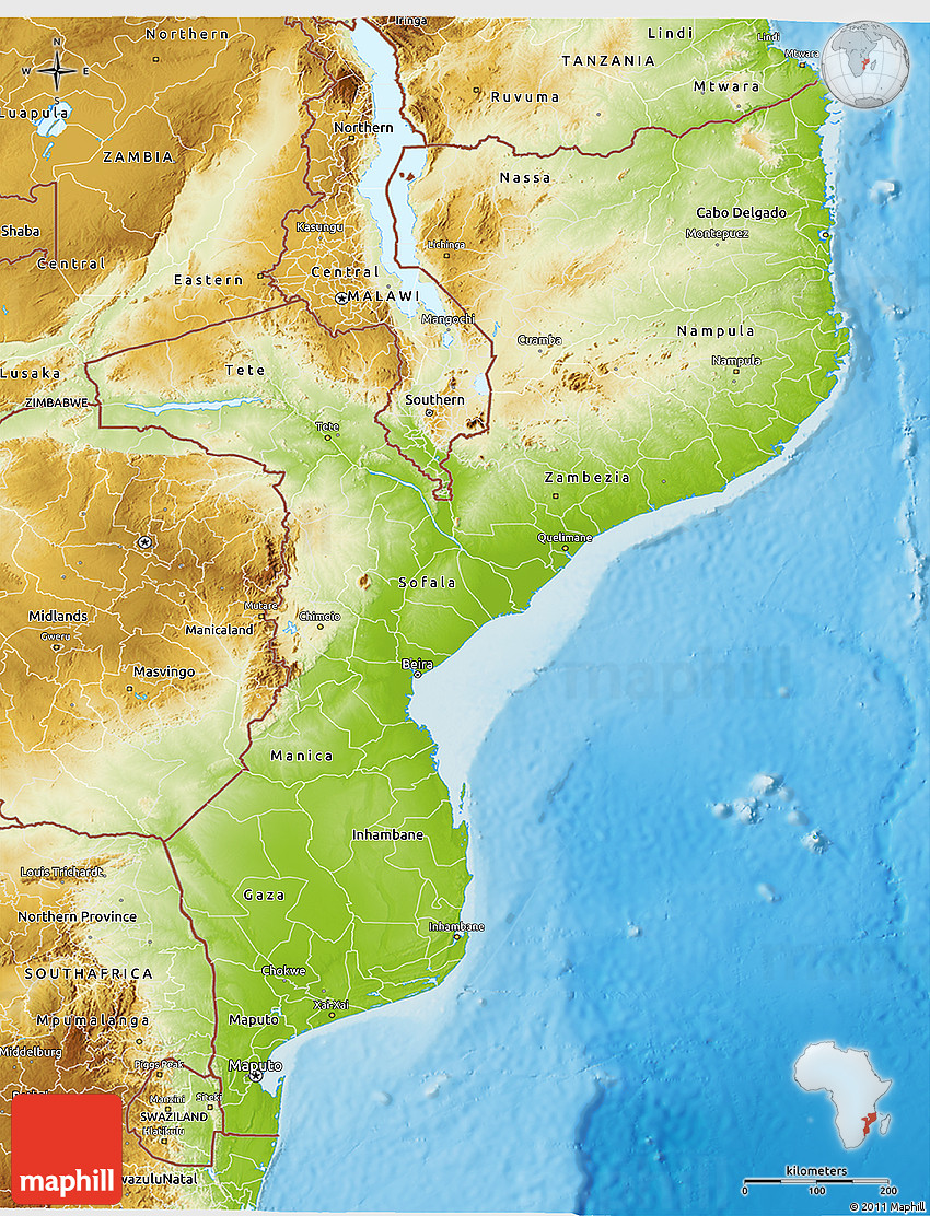 Physical 3d map of mozambique 2d sciox Choice Image