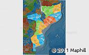 Political 3D Map of Mozambique, darken