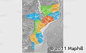 Political 3D Map of Mozambique, desaturated