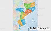 Political 3D Map of Mozambique, lighten