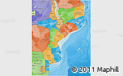 Political 3D Map of Mozambique, political shades outside