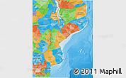 Political 3D Map of Mozambique